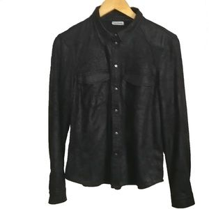 Noisy May Black Faux Suede Button Down Shirt, sz M